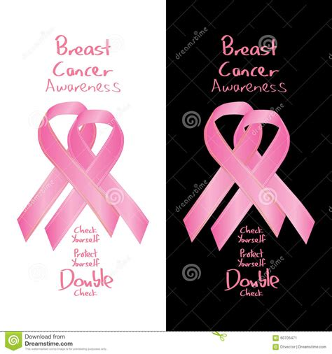breast cancer awareness colors breast cancer awareness ribbon sign check stock