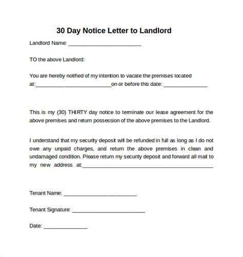 Lease Departure Letter 30 day notice to landlord 30 day notice letter for
