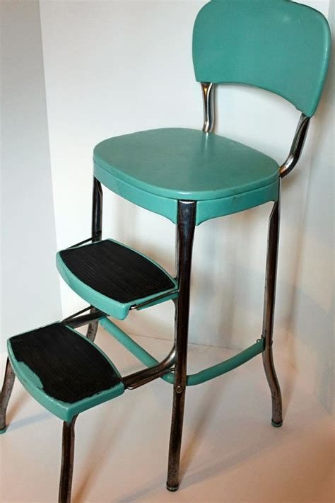 blue kitchen chairs vtg 50s cosco kitchen blue turquoise step stool chair mid