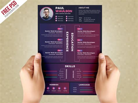 Creative Resume Design by Creative Resume Design Template Psd Psdfreebies