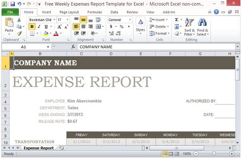 Weekly Expense Report For Excel Free Weekly Expenses Report Template For Excel