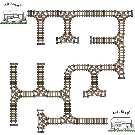 printable train maze colored train track style tiler using train stations as