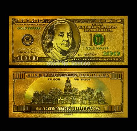 Gold 170pcs 99 9 gold artwork banknote america colorful usd 100 dollar bill 24k gold banknote collection