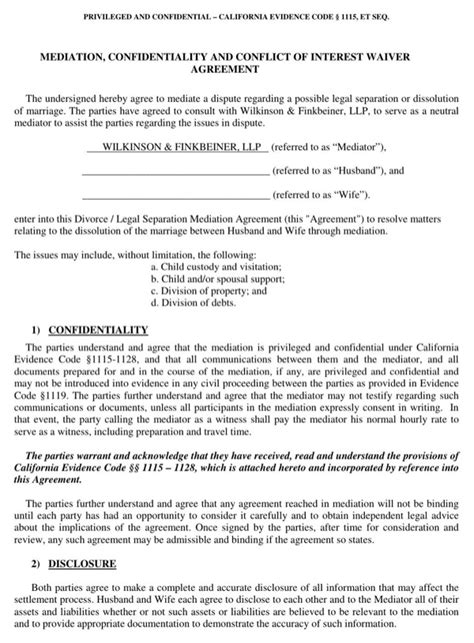 mediation settlement agreement template mediation agreement template for free formtemplate
