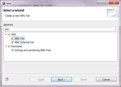 tutorialspoint xsd eclipse create xml file