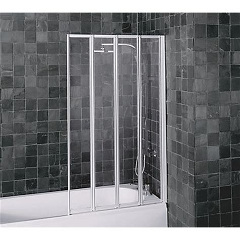 White Folding Shower Screen aqualux folding four panel shower screen white clear