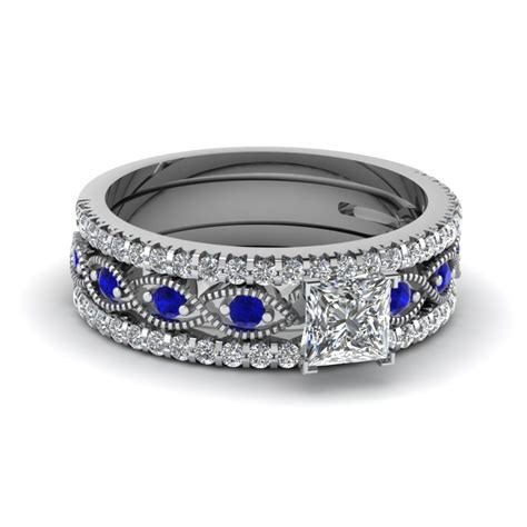 Blue Sapphire 14 30 Ct vintage looking 1 25 princess cut bridal set with