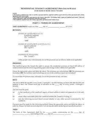 Lease Notice Period Nsw Nsw Residential Lease Tenancy Forms Forms And Business Templates Megadox
