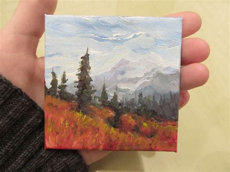 acrylic paint on canvas board northern mountains landscape original 3x3 miniature