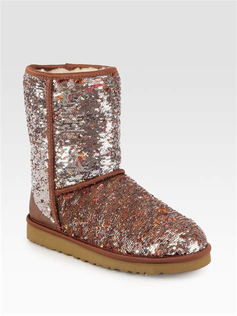 sequin boots ugg classic sequin boots in silver autumn lyst