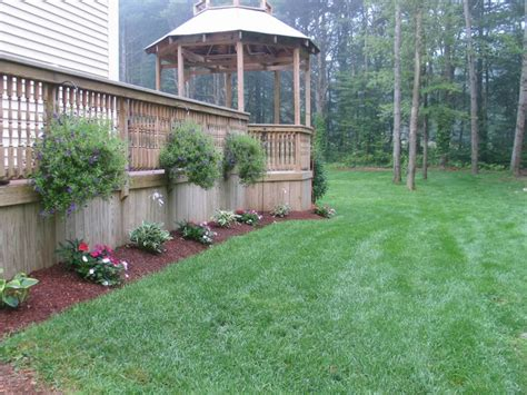 hanging basket concept around deck landscaping ideas