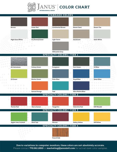 Door Paint Color Chart by Color Chart Janus International
