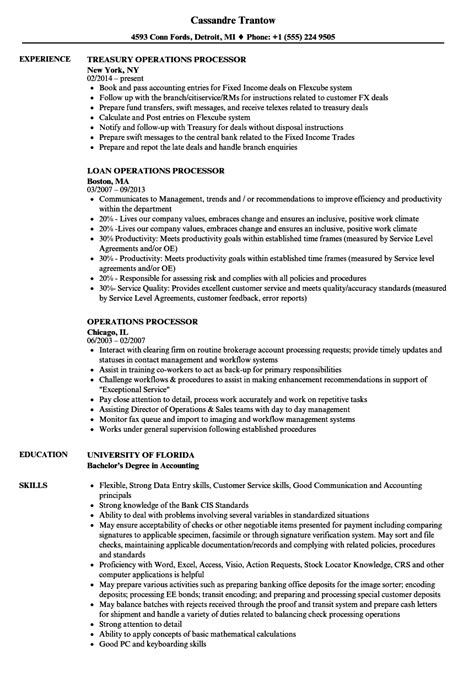 Operations Processor Sle Resume by Operations Processor Resume Sles Velvet