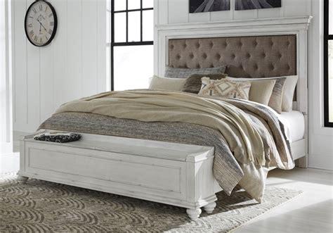 kanwyn whitewash upholstered queen panel storage bedroom set lexington overstock warehouse