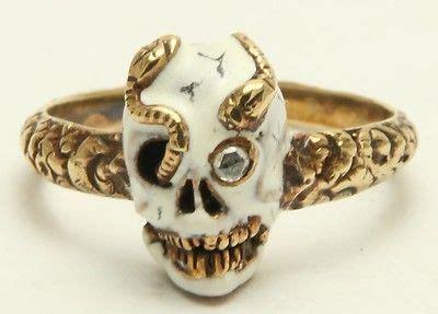 Snake Ring By Wetseal by Memento Mori Enamel Skull Snake Ring Circa 1800 S