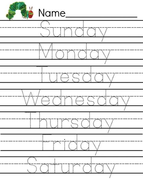 kindergarten activities writing free caterpillar writing page days of the week printable
