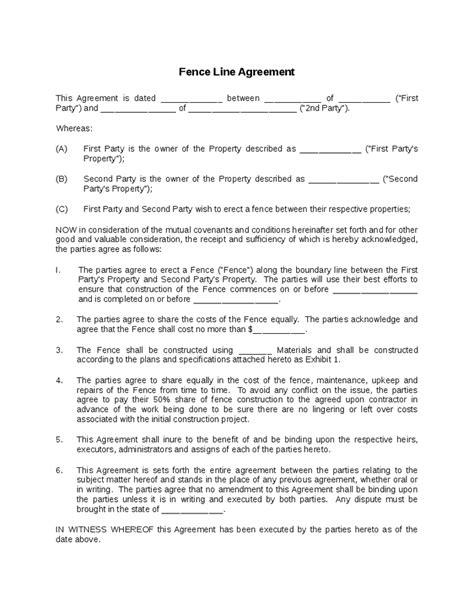 Letter Of Agreement Between Neighbors fence line agreement hashdoc