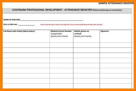 attendance register template 6 meeting attendance register