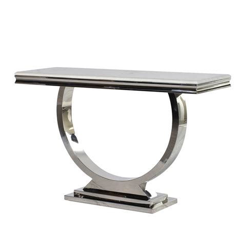 marble console table marble and stainless steel console by out there interiors