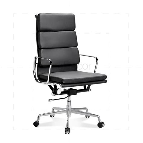 eames office chair high back soft pad black leather