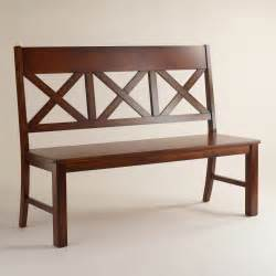 Brown wooden dining bench with back for dining room furniture as well