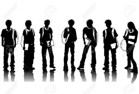Small Desk Flags Student Silhouette Clipart