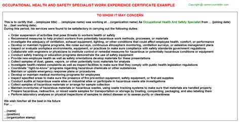 Health And Safety Specialist Cover Letter by Safety Work Experience Certificates