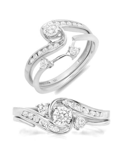 luxury interlocking engagement ring and wedding band