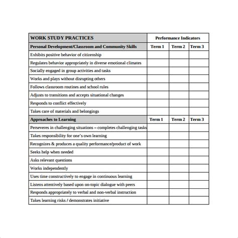 progress report template sle progress report card template 11 free documents