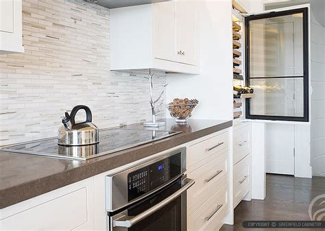 Greenfield Kitchen Cabinets by White Modern Subway Marble Mosaic Backsplash Tile