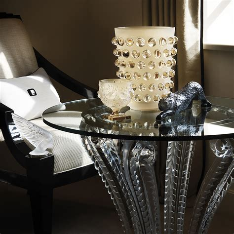 marsan pedestal table clear crystal interior design