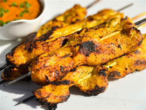 grilled chicken satay skewers with sweet and spicy peanut sauce recipe dishmaps