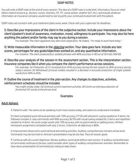 Soap Note Exles Learn To Write Soap Notes Soap Note Template Occupational Therapy