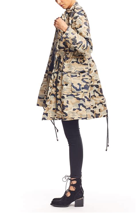 Blue Jacquard Dress 30252 miller camo army jacket in blue lyst