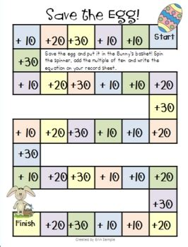 printable number cards multiples of 10 adding multiples of 10 easter game by erin sle tpt