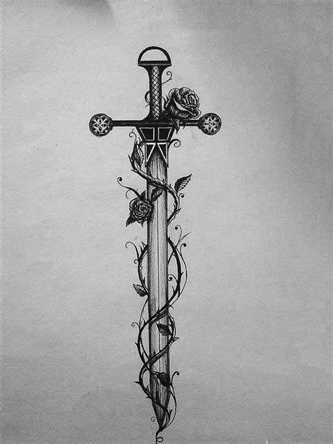 dagger and rose tattoo sword and roses design sketch of