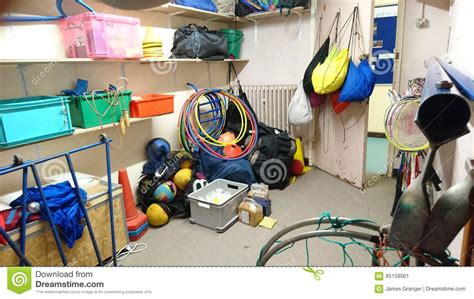 athletic room supplies school sports equipment storage area stock image image 85158561