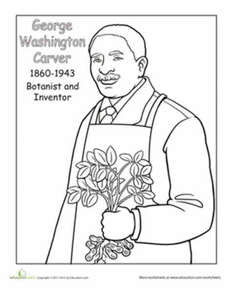 George Washington Carver Coloring Pages george washington carver worksheet education