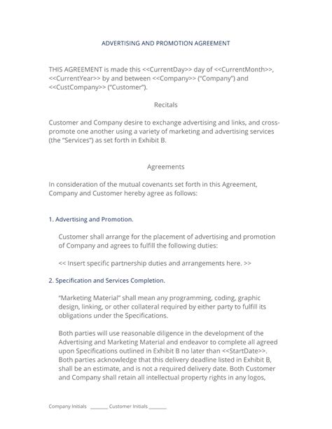 Advertising And Promotion Contract Promotion Agreement Template