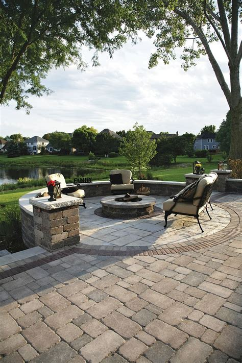 patio block pit brussels block patio with olde quarry seat walls and