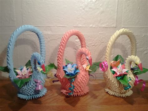 Origami Gift Basket - 3d origami swan basket with flowers