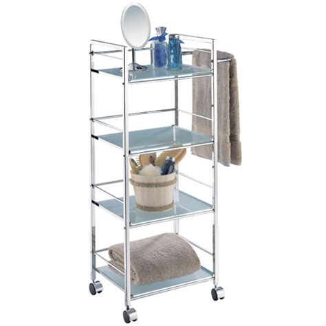 bathroom rolling cart four tier rolling bath shelf and towel bar in free