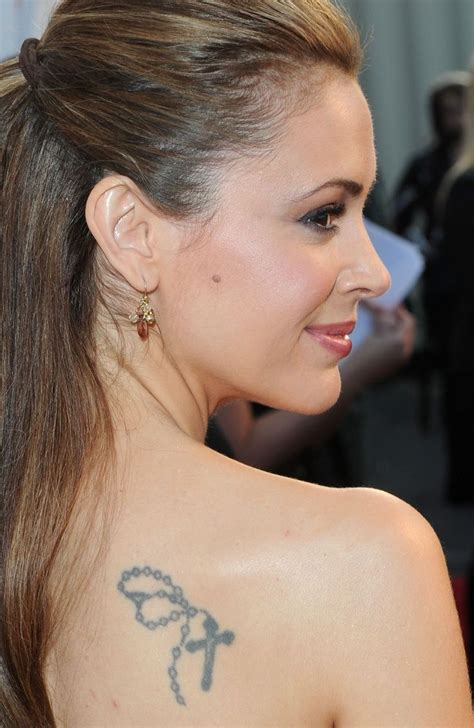 rosary cross tattoo on celebrity alyssa milano right back