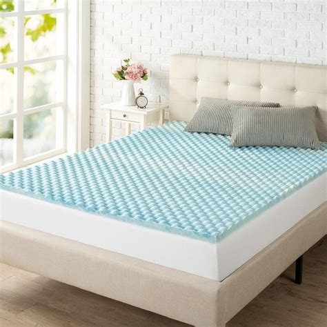 zinus 1 5 in king size swirl gel memory foam air flow mattress topper hd swft 150k the home depot