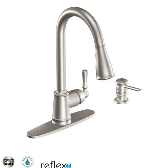 moen kitchen faucet with soap dispenser faucet ca87020srs in spot resist stainless by moen