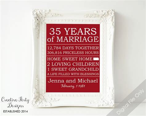 35th Wedding Anniversary by 35th Anniversary Gift Personalized Anniversary Gift For