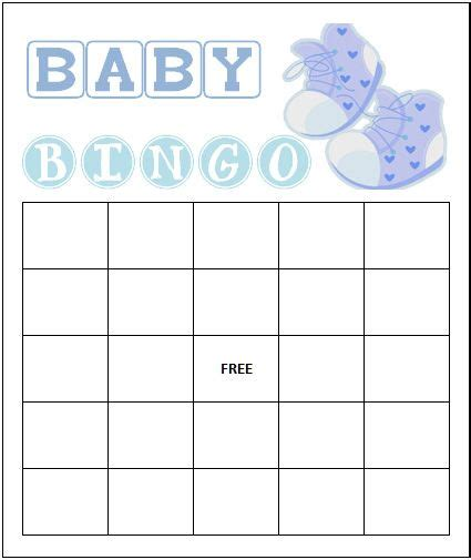 baby bingo template printable free blank baby shower bingo cards designed for boy