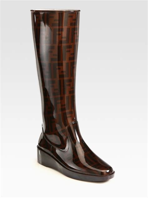 fendi boots for lyst fendi logoprinted boots in brown