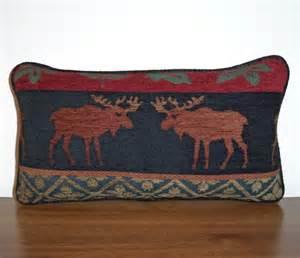moose lumbar pillow cabin decor lodge chenille tapestry