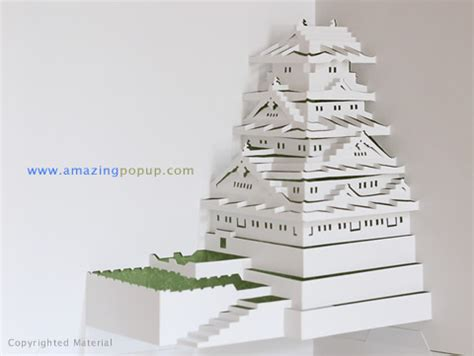 pop up card osaka template osaka castle popup card www amazingpopup it is made